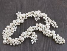 Pearls Bridal Headpiece Rhinestone Hair Hairband Diamante Wedding Headdress 1 PC