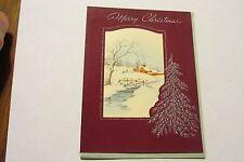 VINTAGE XMAS Christmas card Antique Silverish leaf tree snow bridge scene