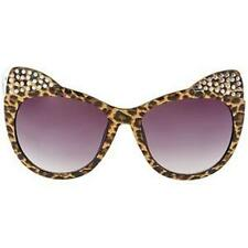 Betsey Johnson KITTEN EARS Cat Eye BLING Sunglasses Leopard Frame/Brown Lens~NEW