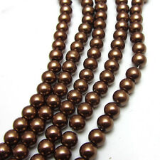 New 6MM 100pcs Charm Round  Beads Glass Spacer Pearls Coffee Color