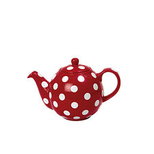 London Pottery 2 Cup Globe CeramicTeapot Red with White Spots Dot Tea Pot 0.5L