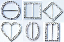 12 SQUARE ROUND RECTANGLE OVAL HEART RHINESTONE BUCKLES