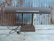 VTG METAL BANKER'S DESK LAMP / PUSH  BUTTON/ EARLY MID-C/ INDUSTRIAL STEAMPUNK
