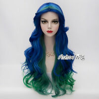 Blue Mixed Green Curly Hair Lolita 70CM Long Women Fancy Anime Cosplay Party Wig