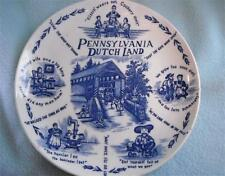 Pennsylvania  Dutch Land Plate Blue White Langfelder Homma & Carroll Vtg