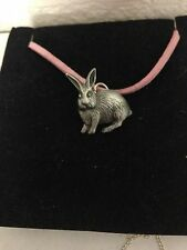 Rabbit R94 English Pewter Emblem on a Pink Cord Necklace Handmade