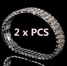3-Row x 2 Pieces AB Austrian Crystal Sparkle Rhinestone Bangle Stretch Bracelets