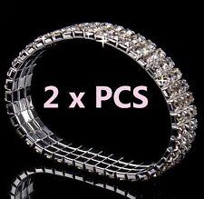 3-Row x 2 Pieces AB Austrian Crystal Sparkle Rhinestone Bangle Stretch Bracelets