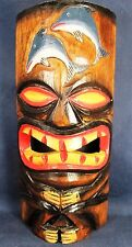 Tiki Mask Hand Carved Wood w/Dolphins Hanging Wall Decor