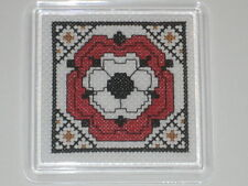 NEW ITA CROSS STITCH COASTER KIT - English Tudor Rose  #1