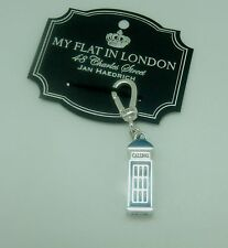 Brighton My flat In London RING THE FLAT  charm-phone booth silver blue