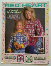 Red Heart Confetti Celebration Sweater and Blanket Granny Square Patterns 1990