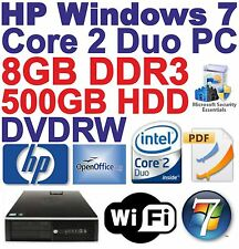 Windows 7 HP core 2 DUO e8400 Desktop PC Computer - 8gb ddr3 - 500gb HDD-Wi-Fi