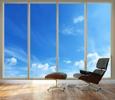 "Clear Blue Sky Seen Through Sliding Glass Doors | 3D Vinyl Wallpaper - 66""x96"""