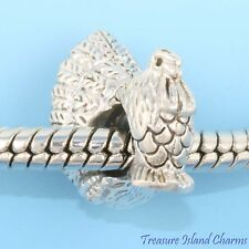 THANKSGIVING TURKEY .925 Sterling Silver EUROPEAN EURO Spacer Bead Charm