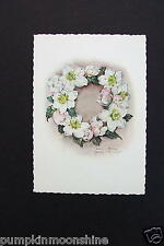 # I 153- Unused German Printed Xmas Greeting Post Card Magnolia Flower Wreath