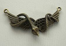 1x Antique Bronze Wings Snake Charm/Pendant Link 60mm Clearout (TSC87)