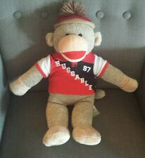 "RARE 18"" BUILD A BEAR SOCK MONKEY HAT EMBROIDERED HEART WITH HUGGABLE POLO SHIRT"