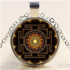 nice Sri Yantra Photo Cabochon Glass Tibet Silver Chain Pendant Necklace utp