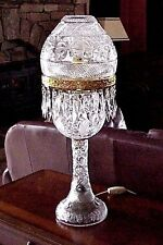 Vintage Victorian Crystal Table Lamp Cut Glass Dome Shade 24 Prisms Elegant