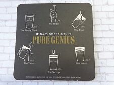 BEER Pub COASTER: GUINNESS It Takes Time To Acquire Pure Genius ~ Dublin Ireland