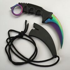 Multicolour KARAMBIT NECK KNIFE Survival Hunting Fixed Blade+Sheath