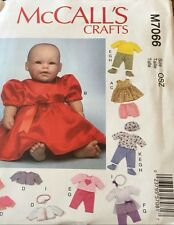 """NEW UNCUT McCALL'S M7066 11""""-16"""" BABY DOLL CLOTHES & ACCESSORIES PATTERN"""