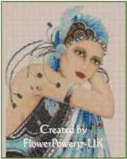 Counted Cross Stitch ART DECO LADY in Blue - COMPLETE KIT - NO. 1-10a