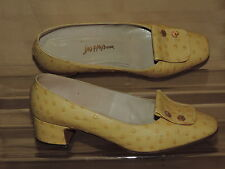 Saks Fifth Avenue 7 B Spring Pastel Yellow Ostrich Embossed Pump Ricky