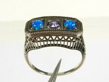 .20ct Natural Amethyst and Opal Victorian Deco Sterling Filigree Ring sz7 114a