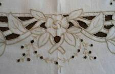Vintage Madeira Linen Banquet Tablecloth Set Cutwork Hand Embroidered Roses 100""