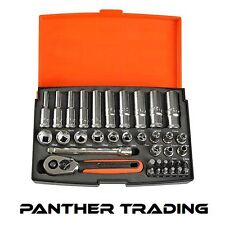 "Bahco 37 Piece 1/4"" Mini Ratchet Hex Socket & Screwdriver Bit Set - SL25L"