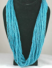 Handcrafted Heishi Piece 29 Strand Bright Blue Turquoise Necklace *Stunning*