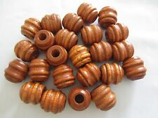"Bag of 24 Large Maple Wood Carved Grooved Macrame Craft Beads 1"" Inch 24mm"