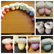 hand knit Baby snuggle Boots / bootees 0 to 3 months Choose 1 From Colours Avail