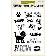 New Echo Park RUBBER STAMP clear Acrylic Set PRETTY KITTY CAT free usa ship