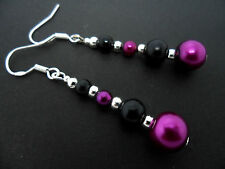 A PAIR OF BLACK & PURPLE PEARL EARRINGS WITH 925 SOLID SILVER HOOKS. NEW..