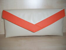 CREAM AND ORANGE faux leather envelope lined clutch bag, fully lined BN,