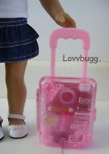 "Pink Rolling Doll Suitcase for 18"" American Girl Widest Selection! Cute!"