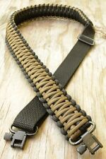 Adjustable Paracord Rifle Gun Sling Strap With Swivels Black & Coyote Brown