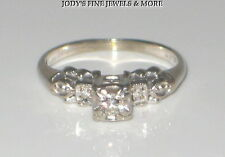 MAYFLOWER VINTAGE ESTATE 14K WHITE GOLD DIAMOND LADIES ART DECO RING Size 5.25