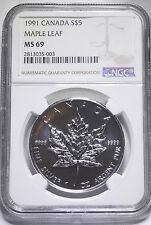 1991 Canada Silver Maple Leaf HIGHEST GRADE IN THE WORLD! Population TWO!