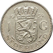 1954 Netherlands Kingdom Queen JULIANA Old 1 Gulden Authentic Silver Coin i53798