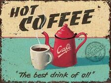 Hot Coffee Retro Vintage Drink Kitchen Cafe Old Shop Food, Novelty Fridge Magnet