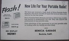 Philco Advertising Card, Philco Batteries/Radio Ad Benicia Ca, Benicia Garage