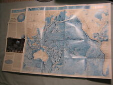 PACIFIC OCEAN + INDIAN OCEAN FLOOR MAP National Geographic June 1992 MINT