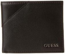 NEW GUESS MEN'S PREMIUM LEATHER CREDIT CARD ID BILLFOLD WALLET BLACK 31GU22X003