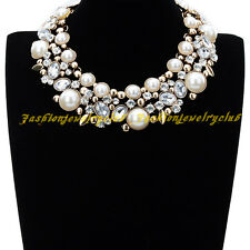 New Fashion Jewelry Gold Chain White Pearl Clear Rhinestone Chunky Bib Necklace