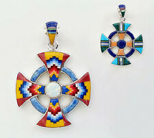 ALLURING MULTICOLOR OPAL LAPIZ SPINY INLAY .925 STERLING SILVER CROSS PENDANT