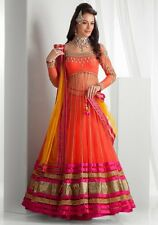 Indian Designer Women's Orange Net Embroidered Ethnic Anarkali Lahenga Choli